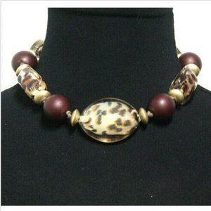 JS Necklace Choker Clear Leopard Print Brown Beads